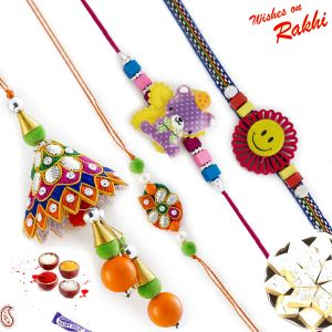 Orange & Green Family Rakhi Set With Teddy & Smiley Kids Rakhis (code - Rf1704_ag18 )