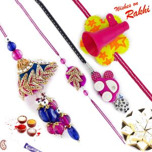 Charming Zardosi Family Rakhi Set With Car & Trumpet Kids Rakhis (code - Rf1705_ag18 )