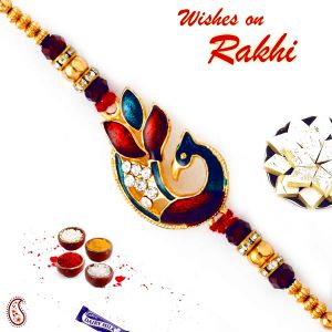 Golden Beads & Crystal Stone Studded Rakhi By Aapno Rajasthan (code - Rj17312_ag18 )