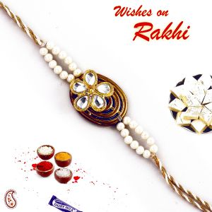 White Kundans And Pearl Beads Jewel Rakhi From Aapno Rajasthan (code - Rj17360_ag18 )