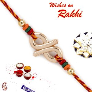 Aapno Rajasthan Elegant Colourful Beads Studded Metallic Rakhi (code-rj1877)