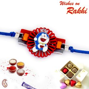 Aapno Rajasthan Red Cut Work Base Doremon Motif Kids Rakhi (code - Rk17865_ag18 )