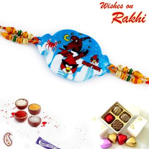 Aapno Rajasthan Blue Base Red Angry Bird Motif Kids Rakhi (code - Rk17893_ag18 )