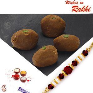 Rakhi Mithais (USA) - Rakhi for USA- Aapno Rajasthan Mathura Peda with FREE 1  Bhaiya Rakhi - US_RM1702