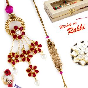 Aapno Rajasthan Golden Flower Bhaiya Bhabhi Rakhi Set With Pearl Danglers (code-rp18171)