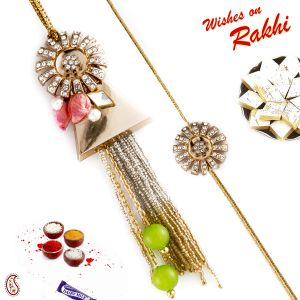 Aapno Rajasthan Colourful Beads & Golden Base Bhaiya Bhabhi Rakhi Set (code-rp18205)