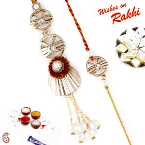 Aapno Rajasthan Red & Golden Floral Shape Bhaiya Bhabhi Rakhi Set With Pearl Danglers (code-rp18206)