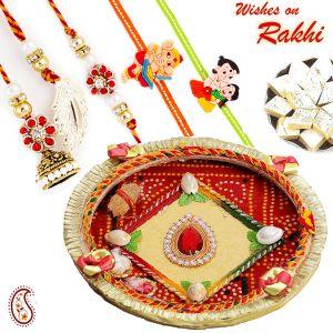 Rakhis & Gifts (USA) - Rakhi for USA- Aapno Rajasthan Kundan Studded Pooja Thali with Family Rakhi Set