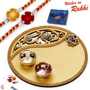 Rakhis & Gifts (Abroad) - Rakhi for Abroad_Aapno Rajasthan Golden Cut Work Rakhi Pooja Thali with 2 Bhaiya Rakhi - INT_RTH1733SNG