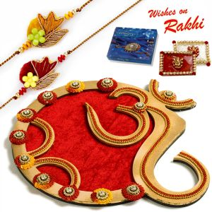 Aapno Rajasthan Classy Handcrafted Floral Work Golden Rakhi Pooja Thali With Set Of 2 Rakhis