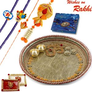 Rakhi For Brothers In Uk - Aapno Rajasthan Lovely Gotta Work Rakhi Pooja Thali With Om Motif And Family Rakhi Set (code-int_rth1807_18)