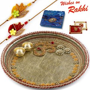 Rakhi For Brothers In Uk - Aapno Rajasthan Lovely Gotta Work Pooja Thali With On Motif With Set Of 2 Rakhis (code-int_rth1807sng_18)