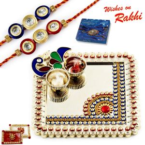 Aapno Rajasthan Elegant Handcrafted Peacock Design Rakhi Thali With Set Of 2 Rakhis