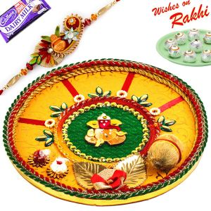 Aapno Rajasthan Traditional Rakhi Pooja Thali With Gat & Ganesh Motif With 1 Charming Rakhi