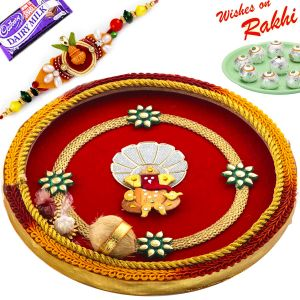 Aapno Rajasthan Red & Yellow Pooja Thali With Ganesh Motif With 1 Charming Rakhi
