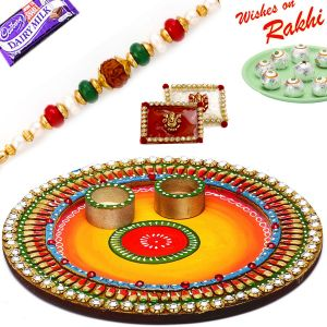 Brothers In Uk - Aapno Rajasthan Colorful Crystal Stone Studded Round Rakhi Pooja Thali With 1 Charming Rakhi (code-int_rth1827sng_18)