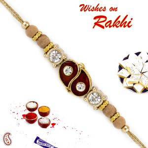 Aapno Rajasthan Enamel Work Sandalwood Rakhi With American Diamonds (code-sw18135)