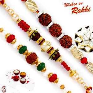 Rakhis & Gifts (USA) - Rakhi to USA - Set of 3 Rudraksh & Pearl Embellished Rakhi