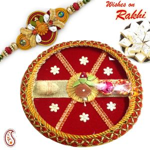 Rakhi To Usa - Star Motif Red Pooja Thali With Bhaiya Rakhi