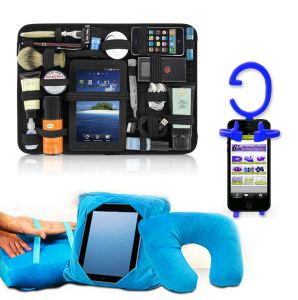 Perfect Travel Organizer Rubber Strap Multipurpose Organizer With Cellphone Holder & Gogo Pillow C100
