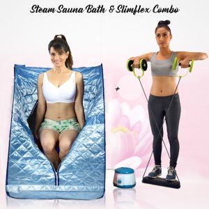 Kawachi Home Portable Steam Spa Bath With Electric Vibration Body Massage Fitness Belt Blue