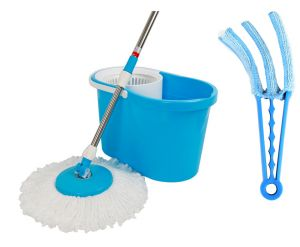 Kawachi Magic Wash Floor Cleaning 360 Spin Mop With Microfiber Dust C42