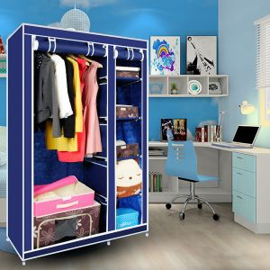 Kawachi Home Utility Furniture - Kawachi Elegant Double-Sided Foldable Canvas Wardrobe K01 Blue
