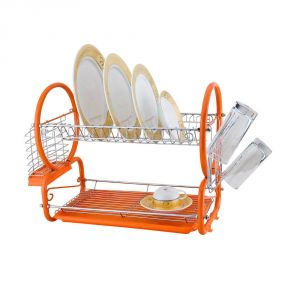 Kawachi Stainless Steel Chrome 2 Tier Dish Drainer Rack Glass Utensil-orange