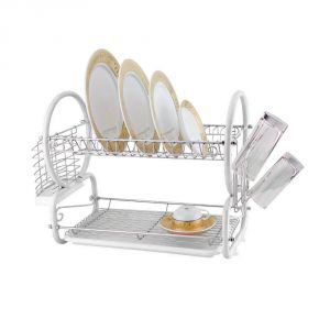 Kawachi Stainless Steel Chrome 2 Tier Dish Drainer Rack Glass Utensil-white