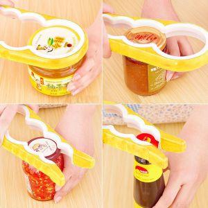 Kawachi Kitchen Utilities (Misc) - Kawachi Multi-Purpose 4 in 1 Bottle Jar Cork Lid Cap Twist Opener Gripped Handle-Yellow