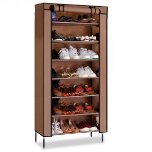 Kawachi Multipurpose Shelf Shoe Storage With 7 Layer Shoe Stand Rack-brown