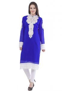 Fasense Kurtis - Fasense Women's Georgette Royal Blue Stitched Kurti, DJ001 C
