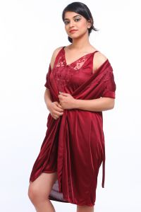 Sleep Wear (Women's) - Fasense Satin Maroon Two Piece Set Robe & Nighty