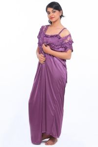 Nightgown Sets - FASENSE SATIN VIOLET 2PC SET ROBE & NIGHTY DP035 A