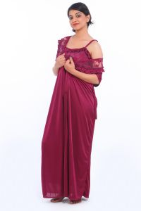 Fasense Satin Wine 2pc Set Robe & Nighty Dp035 C