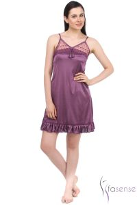 Fasense Satin Short Slip Nighty Dp039 A