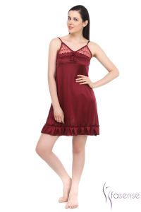 Fasense Satin Short Slip Nighty Dp039 D