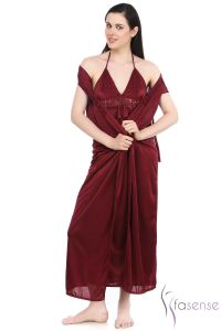 Fasense Satin Maroon 2pc Set Robe & Nighty Dp043 D