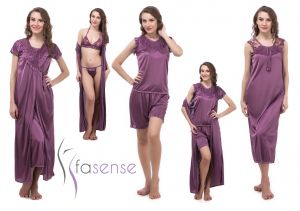 Fasense Women 6 PCs Set Nightwear Set Nighty Robe Top Barmuda Sleepwear