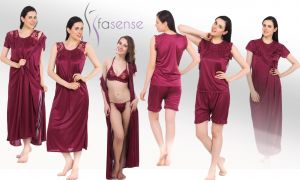 Soie,Flora,Fasense,The Jewelbox Women's Clothing - Fasense Women 6 pcs set Nightwear set nighty robe top barmuda sleepwear