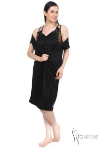 Fasense Satin Black 2pc Set Robe & Nighty Dp045 B