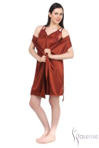 Fasense Satin Rust 2pc Set Robe & Nighty Dp045 E