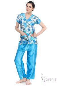 Fasense Light Blue Satin Pyjama Set Dp050 B