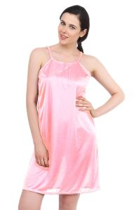 Fasense Women Baby Pink Satin Sleepwear Short Nighty (code - Dp055 H)