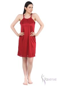 Fasense Maroon Stylish Satin Short Slip Nighty Dp055 A