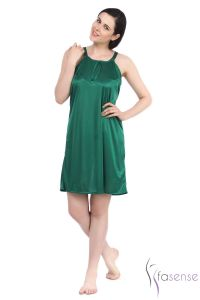 Fasense Bottle Green Stylish Satin Short Slip Nighty Dp055 C