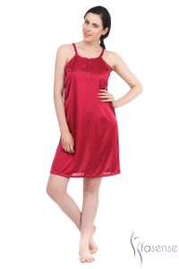 Fasense Wine Stylish Satin Short Slip Nighty Dp055 E
