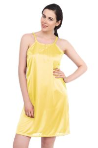 Triveni,Platinum,Jagdamba,Ag,Estoss,Surat Diamonds,Cloe,Bikaw,Mahi,Tng,Fasense Women's Clothing - Fasense Women Yellow Satin Sleepwear Short Nighty (Code - DP055 I)