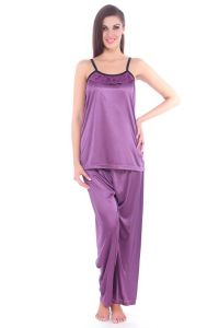 Pyjamas & lounge pants - Fasense Women Satin Nightwear Sleepwear Pyjama Set Night Suit DP064 A