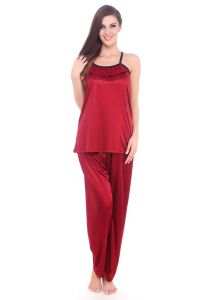 63b0e81356b Fasense Women Satin Nightwear Sleepwear Pyjama Set Night Suit DP064 C